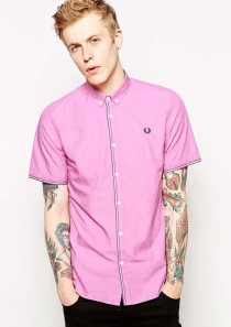 Fred Perry Shirt with Contrast Stitch with Short Sleeve